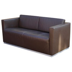 Walter Knoll Sofa Dark Brown Leather Jan Kleihues