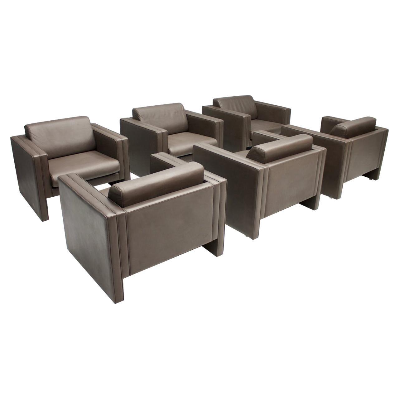 "Walter Knoll ""Studio"" Dark Brown Leather Lounge Chairs, 1975"