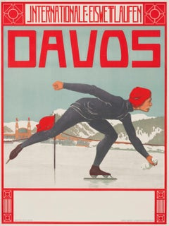"""Davos Internationale Eiswettlauten"" Original Vintage Skating Poster 1900s"