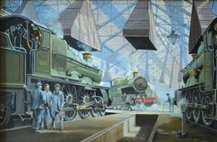 "Walter Greene, ""Station with Locomotives"""