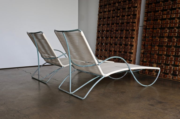 Walter Lamb chaise lounges model C-4700 for Brown Jordan, circa 1960. Beautiful matching Verdigris patina to each bronze frame.