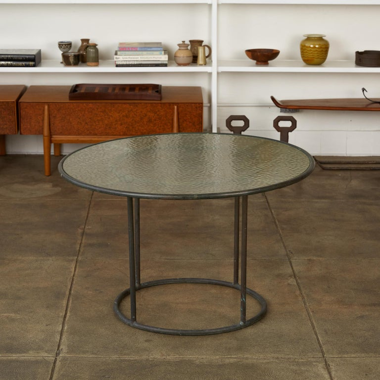 Patinated Walter Lamb for Brown Jordan Bronze Patio Coffee Table For Sale
