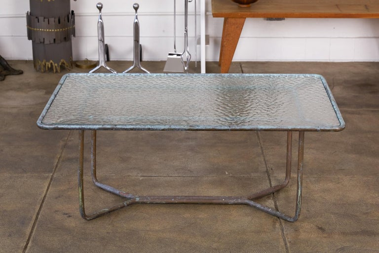 Mid-20th Century Walter Lamb for Brown Jordan Bronze Patio Coffee Table For Sale