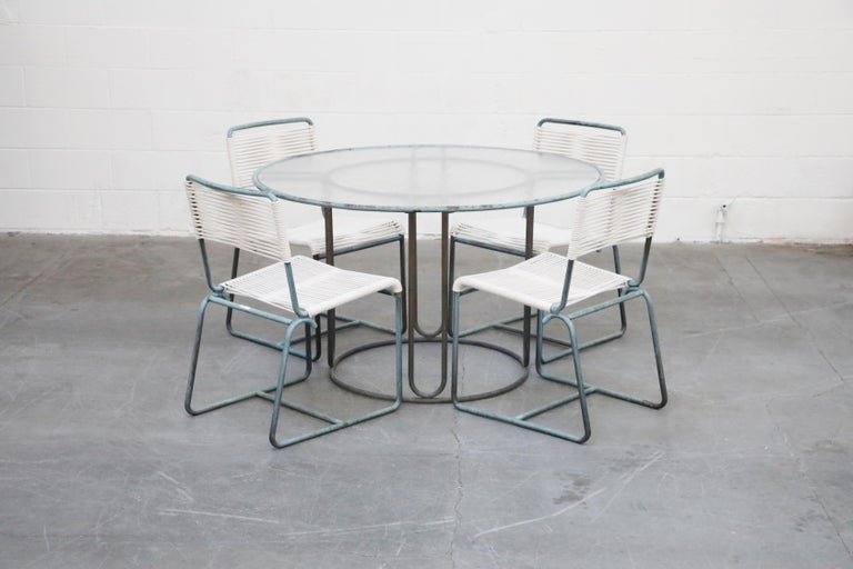 Mid-Century Modern Walter Lamb for Brown Jordan Bronze Patio Dining Set with New Cording, 1960s For Sale