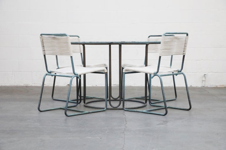 American Walter Lamb for Brown Jordan Bronze Patio Dining Set with New Cording, 1960s For Sale