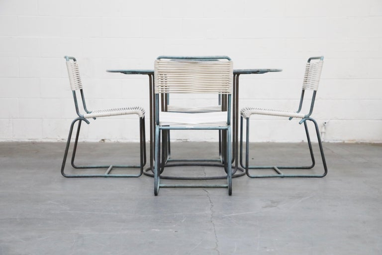 Walter Lamb for Brown Jordan Bronze Patio Dining Set with New Cording, 1960s In Good Condition For Sale In Los Angeles, CA