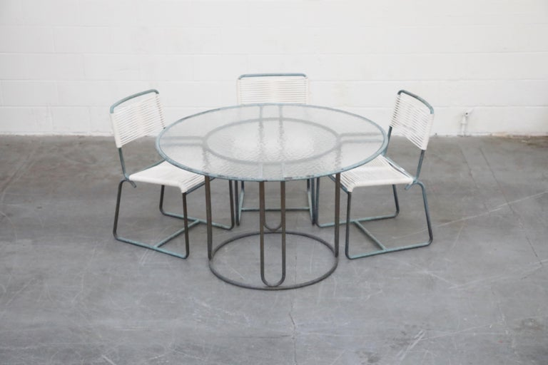Mid-20th Century Walter Lamb for Brown Jordan Bronze Patio Dining Set with New Cording, 1960s For Sale