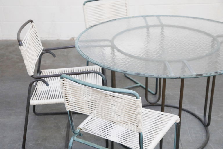 Walter Lamb for Brown Jordan Bronze Patio Dining Set with New Cording, 1960s For Sale 1