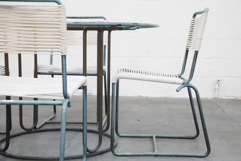 Walter Lamb for Brown Jordan Bronze Patio Dining Set with New Cording, 1960s For Sale 2