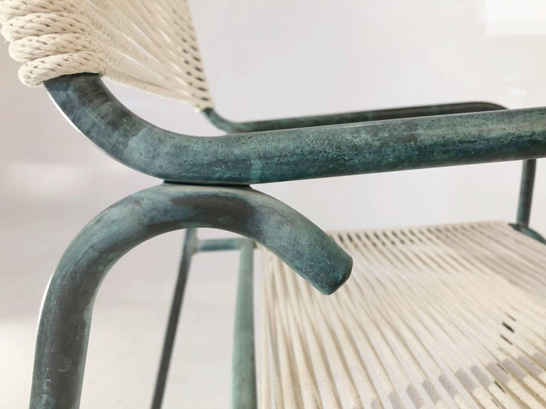 Mid-20th Century Walter Lamb for Brown Jordan Bronze Verdigris Dining Chairs, Four, circa 1955 For Sale