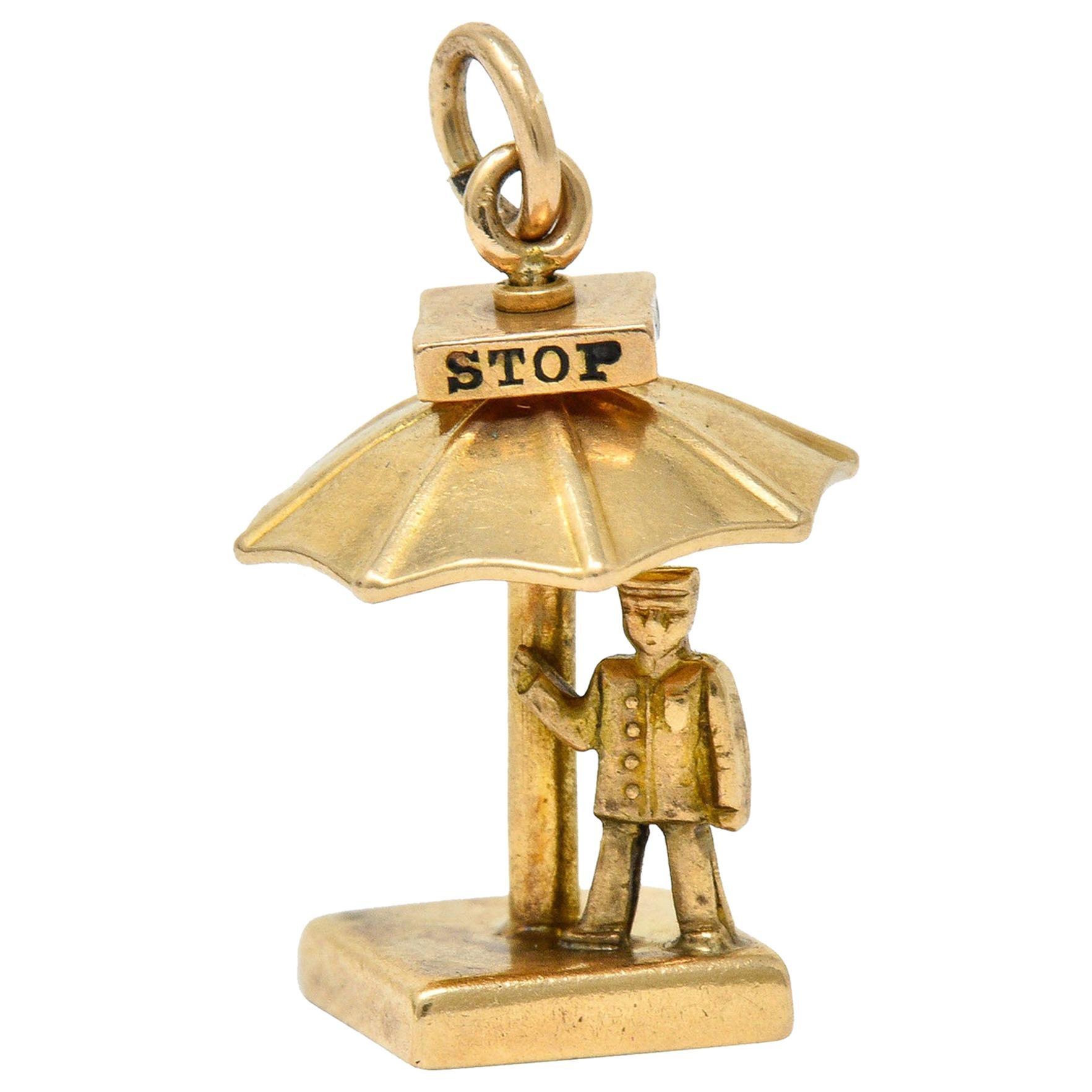 Walter Lampl Enamel 14 Karat Gold Traffic Stop Charm