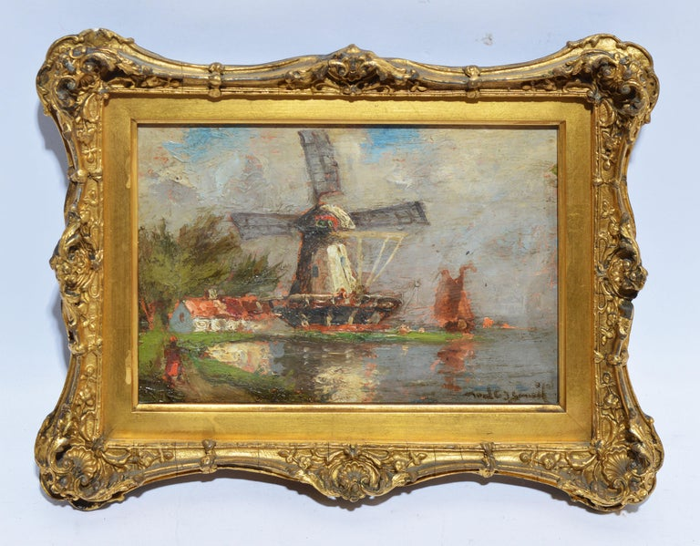 Antique Dutch Windmill Landscape Oil Painting with Figures by Walter Lansil 1
