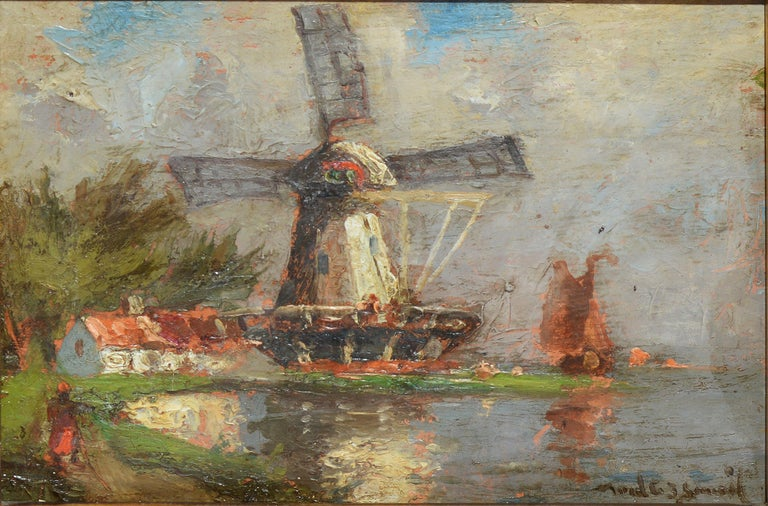 Antique Dutch Windmill Landscape Oil Painting with Figures by Walter Lansil 2