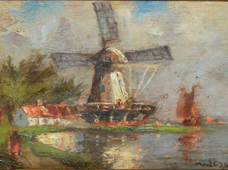 Antique Dutch Windmill Landscape Oil Painting with Figures by Walter Lansil 3