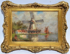 Antique Dutch Windmill Landscape Oil Painting with Figures by Walter Lansil