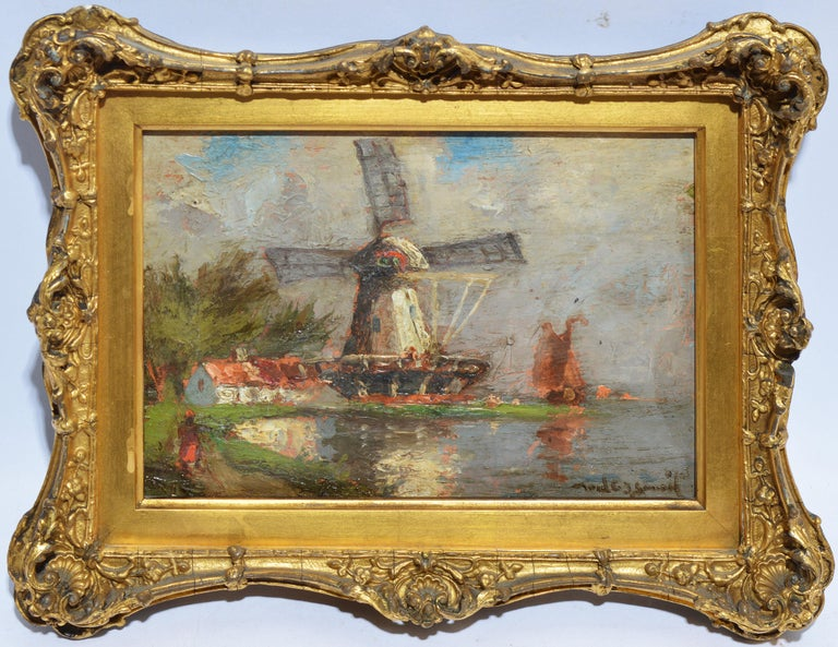 Antique Dutch Windmill Landscape Oil