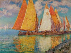 Drying the Nets, a marine scene by Walter Launt Palmer (1854-1932, American)