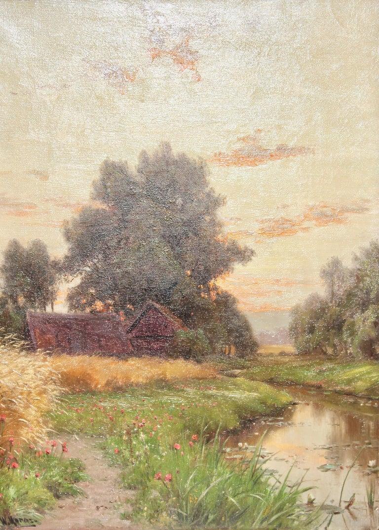 "Walter Moras Landscape Painting - Painting, circa 1890, oil on canvas. ""Dusk / Twilight"" - River Landscape"