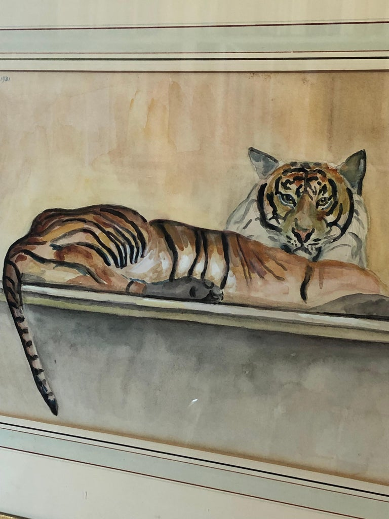 """Beaux Arts """"Le Tigre"""" Watercolor and Pencil on Paper by Walter Pach For Sale"""