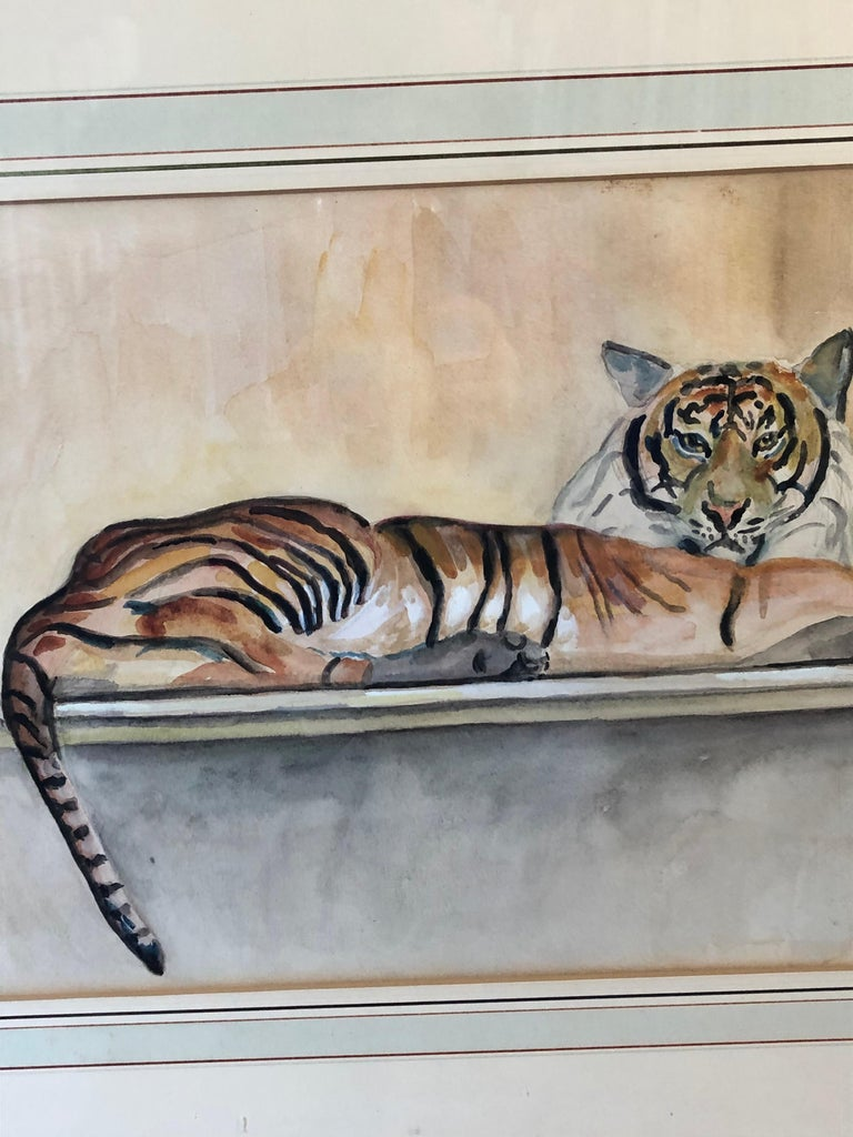 """Painted """"Le Tigre"""" Watercolor and Pencil on Paper by Walter Pach For Sale"""