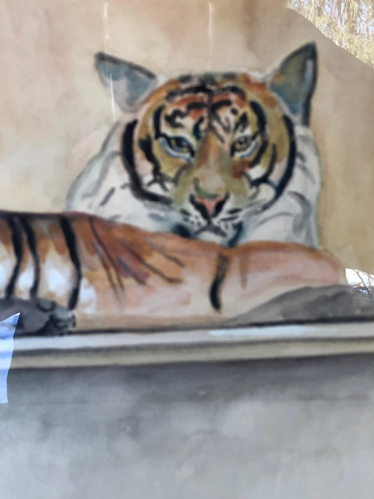 """""""Le Tigre"""" Watercolor and Pencil on Paper by Walter Pach In Good Condition For Sale In Hudson, NY"""