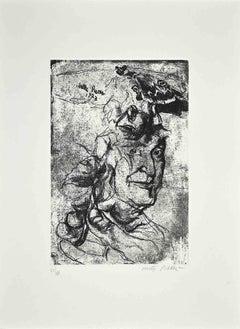 Portrait - Original Etching by Walter Piacesi - 1970s