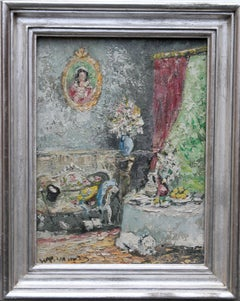 Paris Interior - Post Impressionist 50's German oil painting French sitting room