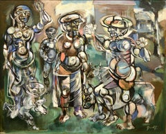 "Abstract surrealist painting by American, Walter Quirt, titled ""The Farm"""