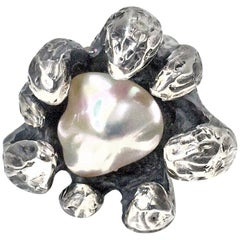 Walter Schluep Figurative Sterling Silver Pearl Ring