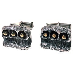 Walter Schluep Gold and Sterling Cufflinks, circa 1960