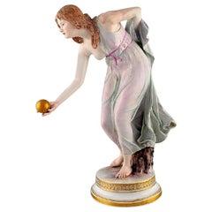 Walter Schott for Meissen, Large Art Nouveau Porcelain Figurine, Woman with Ball