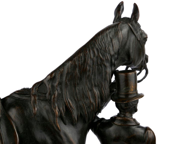 """""""Walter Scott"""" Bronze Sculpture of Racehorse by Alfred Barye, French For Sale 13"""