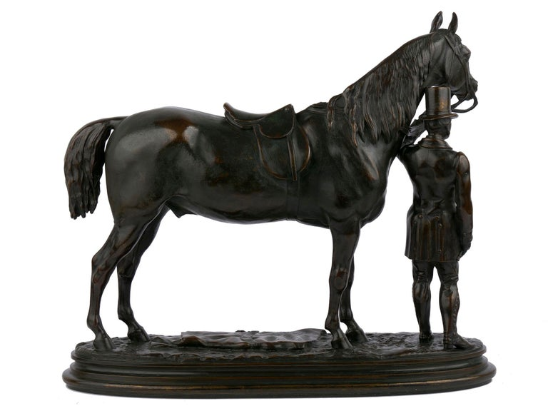 """19th Century """"Walter Scott"""" Bronze Sculpture of Racehorse by Alfred Barye, French For Sale"""
