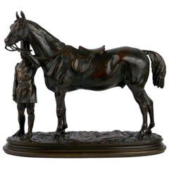 """""""Walter Scott"""" Bronze Sculpture of Racehorse by Alfred Barye, French"""