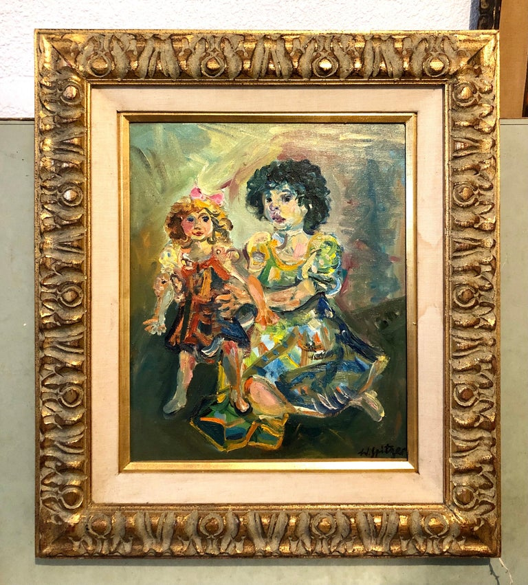 Polish French Jewish Artist Oil Painting Girl with Doll, School of Paris Judaica For Sale 7