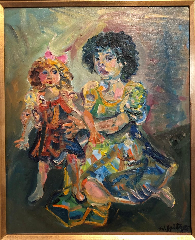 Polish French Jewish Artist Oil Painting Girl with Doll, School of Paris Judaica - Beige Interior Painting by Walter Spitzer