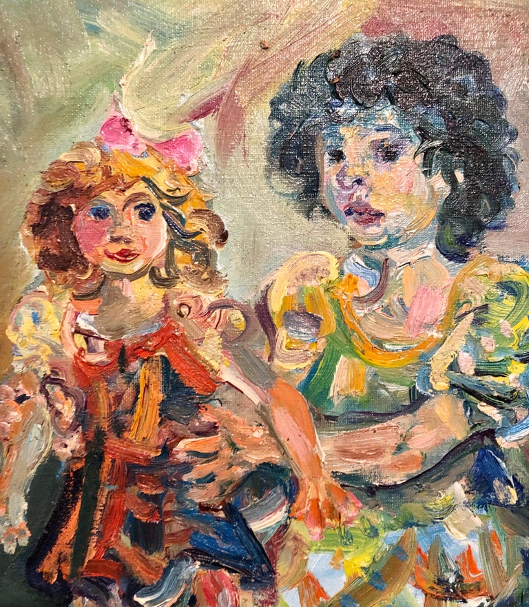 Polish French Jewish Artist Oil Painting Girl with Doll, School of Paris Judaica For Sale 1