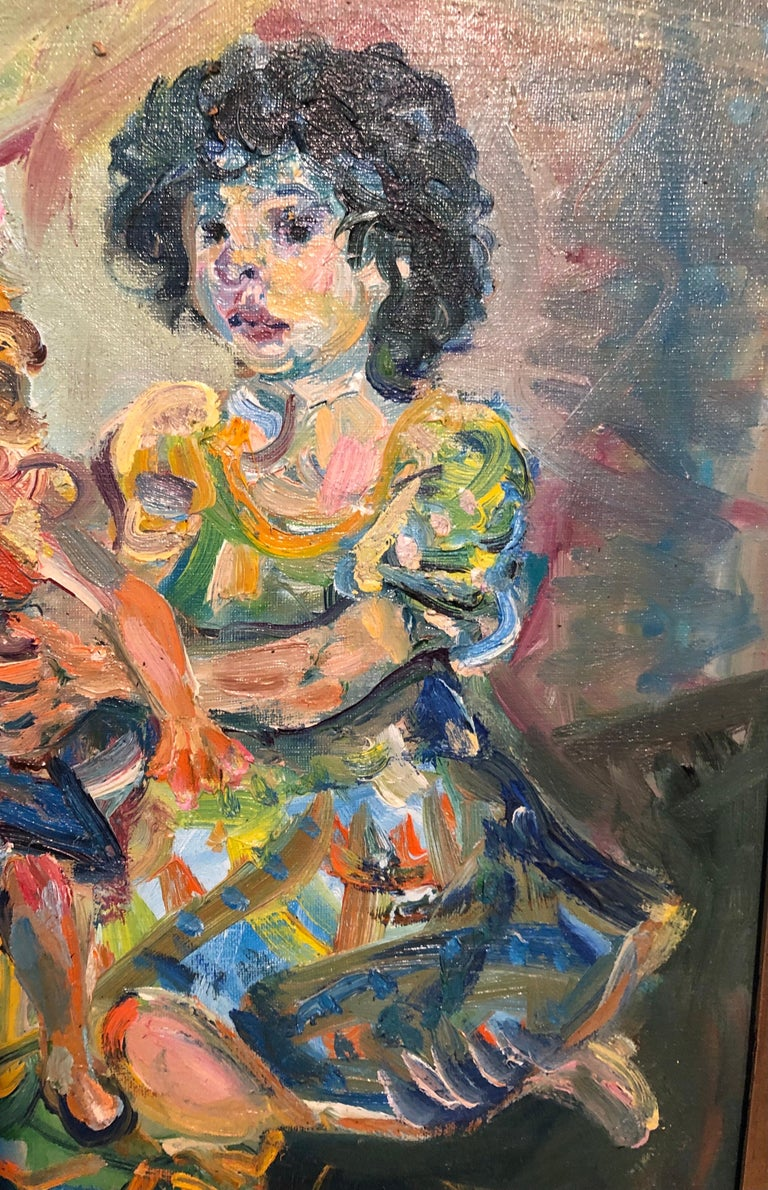 Polish French Jewish Artist Oil Painting Girl with Doll, School of Paris Judaica For Sale 3