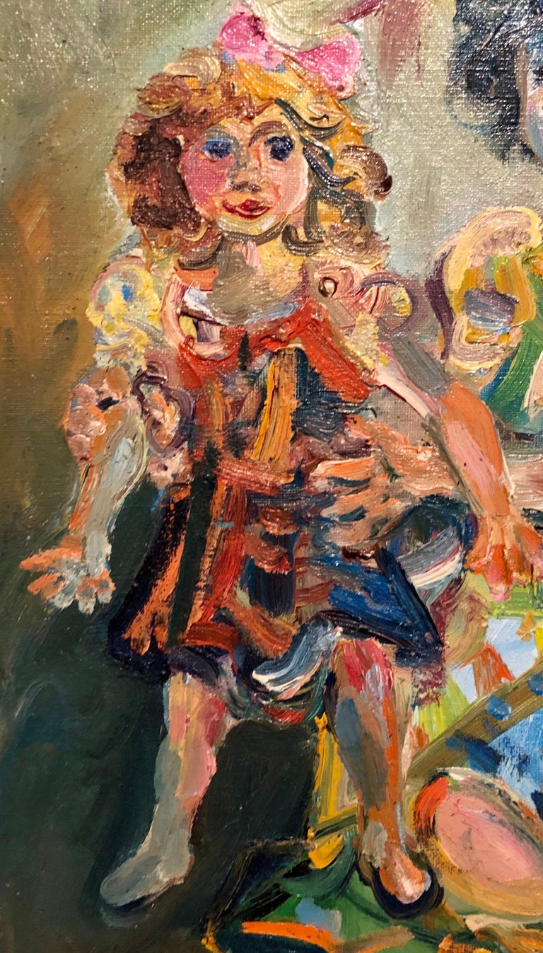 Polish French Jewish Artist Oil Painting Girl with Doll, School of Paris Judaica For Sale 4