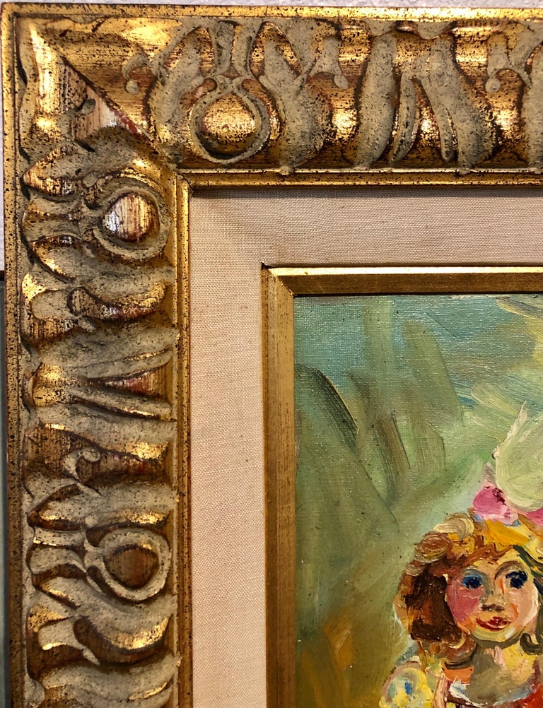 Polish French Jewish Artist Oil Painting Girl with Doll, School of Paris Judaica For Sale 6