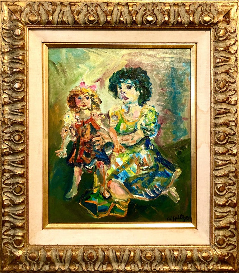 Walter Spitzer Interior Painting - Polish French Jewish Artist Oil Painting Girl with Doll, School of Paris Judaica