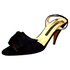 Walter Steiger Silk Black & Gold Heels - NEW - Size 39