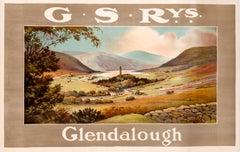"""Glendalough - Great Southern Railways"" Original Vintage Ireland Poster"