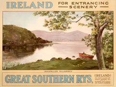 """Ireland - For Entrancing Scenery - Innisfallen, Killarney"" Railway Poster"