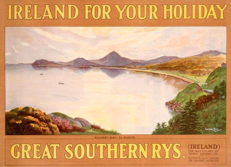 """""""Ireland For Your Holiday - Killiney Bay"""" Original Vintage Ireland Poster 1920s - Print by Walter Till"""
