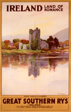 """Ireland Land Of Romance - Ross Castle, Killarney"" Original Railroad Poster"