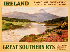 """""""Ireland Land of Scenery and Romance - Galway"""" Original Vintage Travel Poster"""