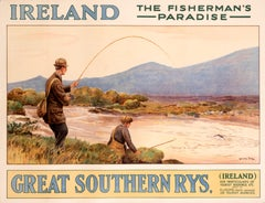 """Ireland - The Fisherman's Paradise - Great Southern Rys"" Vintage Poster"
