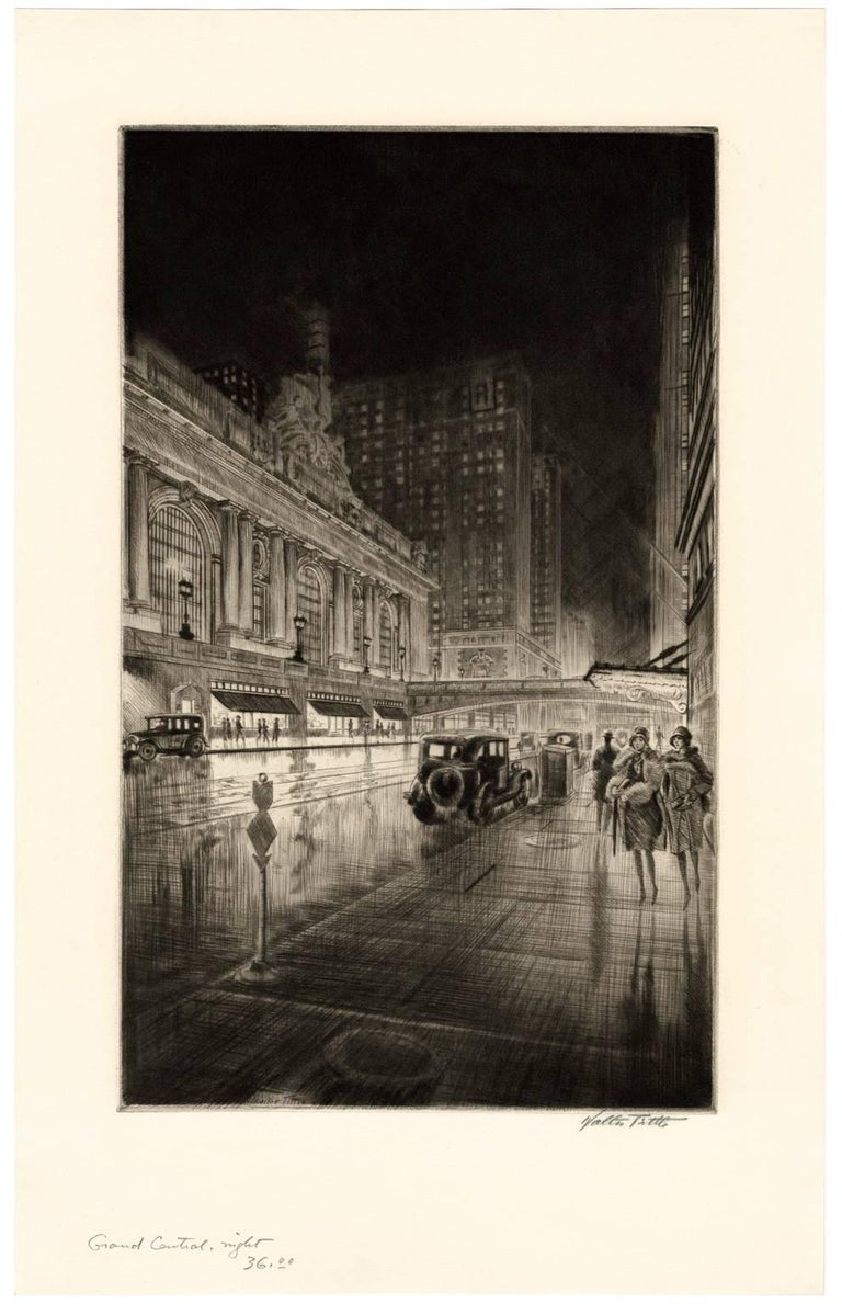 Grand Central, Night - Print by Walter Tittle