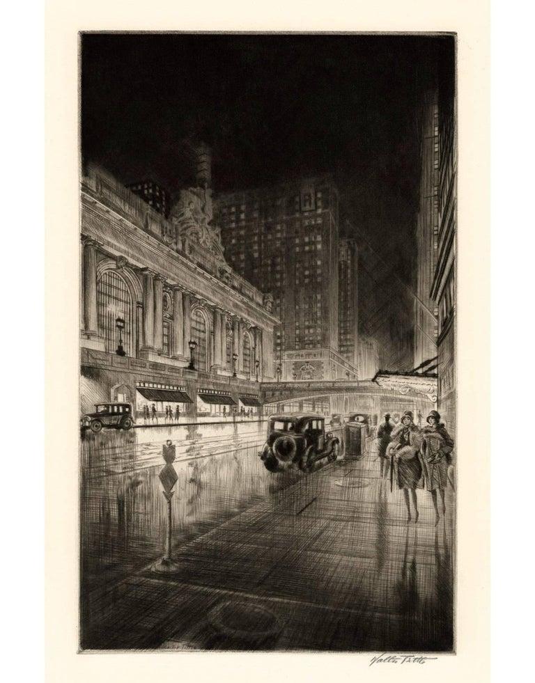 Walter Tittle Landscape Print - Grand Central, Night
